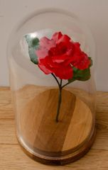 Glass Domed Red Paper Rose - standard