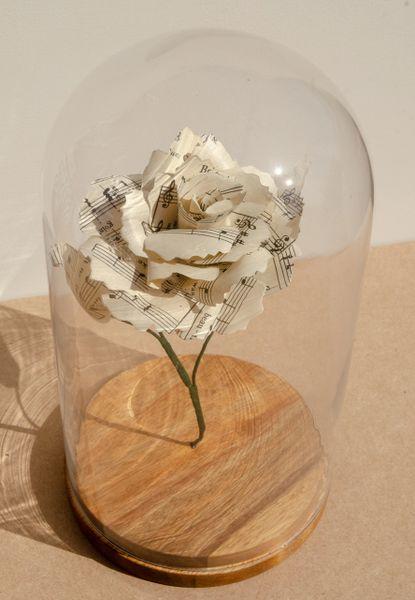 Glass Domed Sheet Music Rose - large