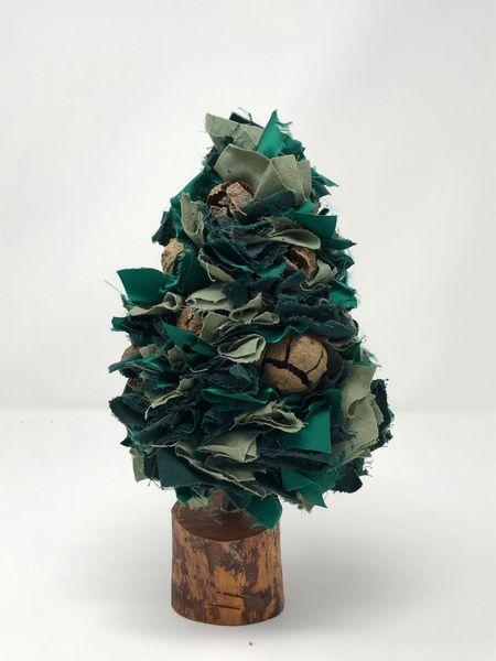 Fabric Christmas Tree - Green Multi Small