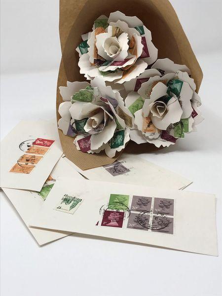 Paper Rose Bouquet - vintage stamps