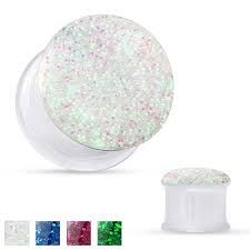 Clear Acrylic with Sparkling Glitter Front Double Flared Tunnels 4g