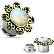 Lotus Flower with Opal Center 316L Surgical Steel Screw Fit Tunnels 8g