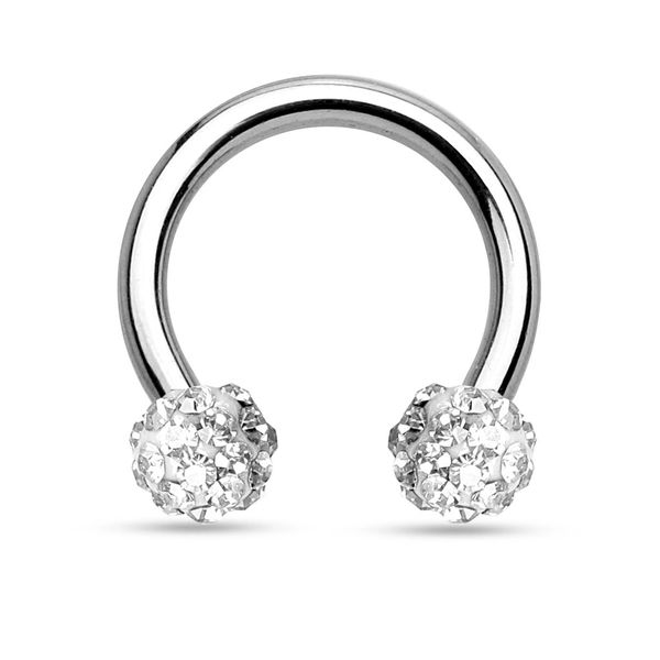 Crystal Paved Ferido Balls 316L Surgical Steel Circular Barbell/Horseshoe 14g