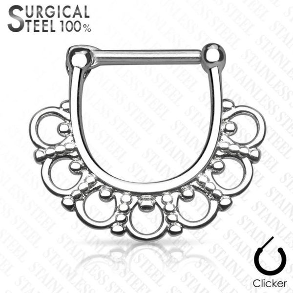 Tribal Fan Filgree All 316L Surgical Steel Septum Clicker 14g