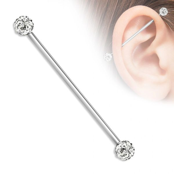 Paved Ball Industrial Bar 14g