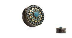 """Turquoise and Enamel Tribal Sun Top Organic Ebony Wood Double Flared Saddle Plugs 7/8"""""""