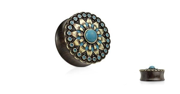 Turquoise and Enamel Tribal Sun Top Organic Ebony Wood Double Flared Saddle Plugs 7/8""