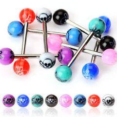 316L Steel Skull Inlay UV Ball-White