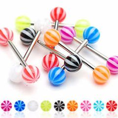 316L Candy Stripe Barbell-Pink