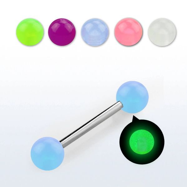 316L Glow in the Dark Barbell-White