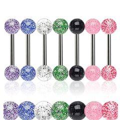 316L Steel Glitter Ball Barbell-Red