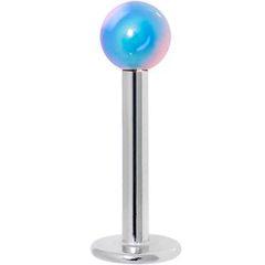316L Steel Metallic Coated Ball Labret-Blue