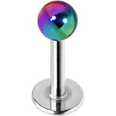 316L Steel Metallic Coated Ball Labret-Rainbow