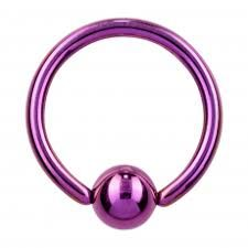 "IP Titanium Fixed Ball Captive Ring 18g 5/16"" purple"