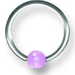 316L Steel Captive with glow balls 16g purple