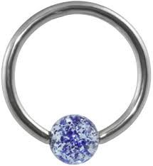 316L Steel Captive with Glitter Ball 16g blue
