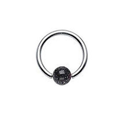 316L Steel Captive with Glitter Ball 16g black