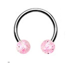 316L Steel Horseshoe with Glitter Ball 16g pink