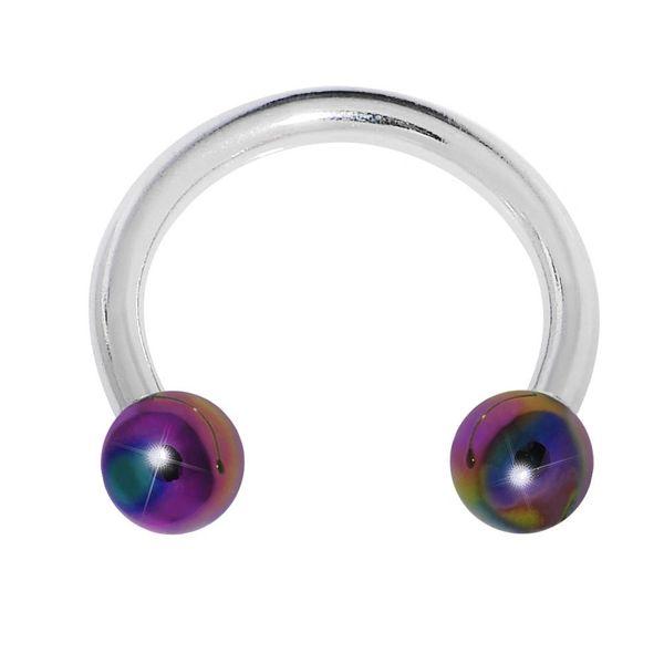 316L Steel Horseshoe with Aurora Balls 16g rainbow