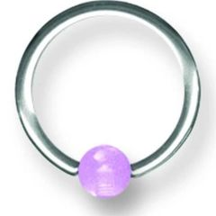 316L Steel Captive with Glow in the Dark Ball 14g purple