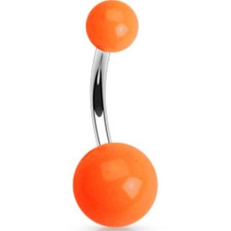 316L Navel Ring With Solid Orange UV Ball