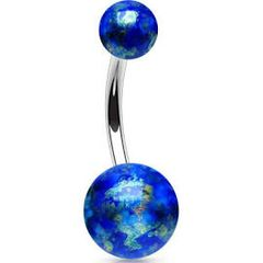 Belly Ring with Blue Fossil Balls 316L Surgical Steel