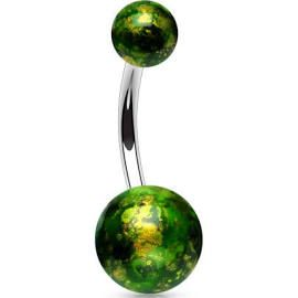 Belly Ring with Green Fossil Balls 316L Surgical Steel