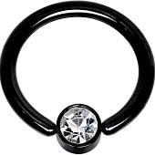 "gem set steel ball Titanium IP Over 316L Surgical Steel Ring 14g 3/8"" black"