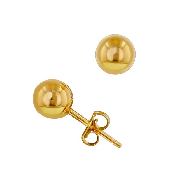 Pair of Gold ip 316L Stainless Steel Hollow Ball End Earrings