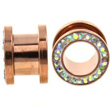 AB Crystals Set Around Rim Rose Gold IP Over 316L Surgical Steel Screw Fit Tunnel 10g
