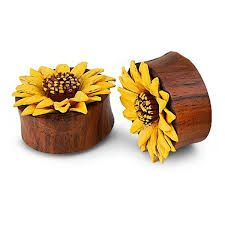"""YELLOW Flower Painted Leather Double Flare Horn Plug 5/8"""""""