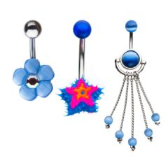 3pc 316L Surgical Steel flower, Star and chain dangle Navel Rings