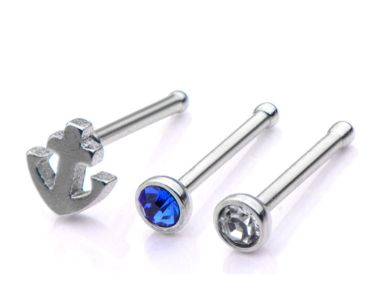 3 Pack of nose rings. Clear cz, Blue cz and anchor. 20g