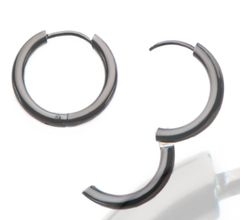 Stainless Steel Black Plated Hoop Earrings