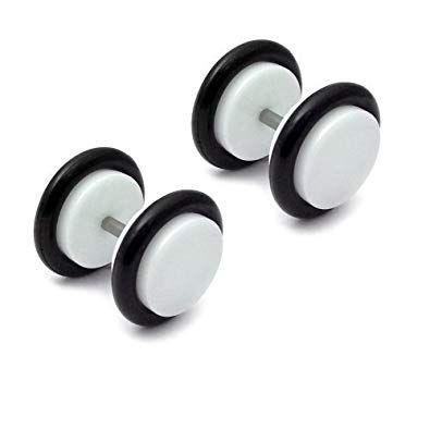 316L steel acrylic front faux plug white