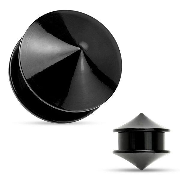Double Cones Black Acrylic Screw Fit Stash Plugs 2g