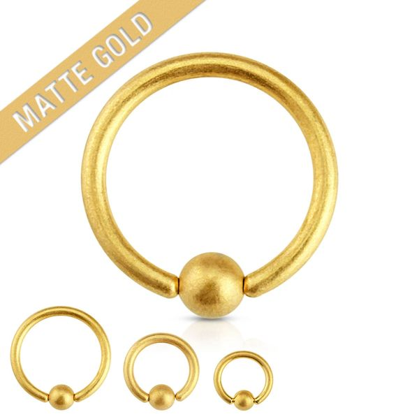 Matte Gold IP Over 316L Surgical Steel Captive Bead Ring 14g