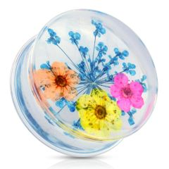 Blue Dried Flower Clear Acrylic Saddle Fit Plug 7/8""