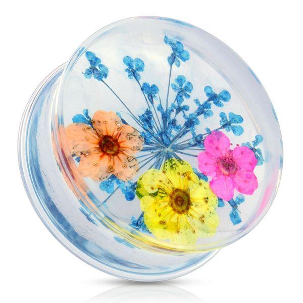 "Blue Dried Flower Clear Acrylic Saddle Fit Plug 7/8"""