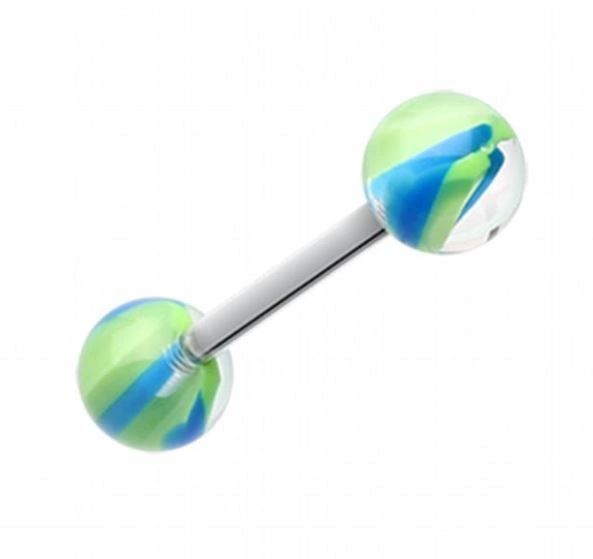 316L Steel UV Green and BlueScrew Marble Barbell