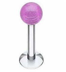 316L Steel Labret with Glow in the Dark-purple