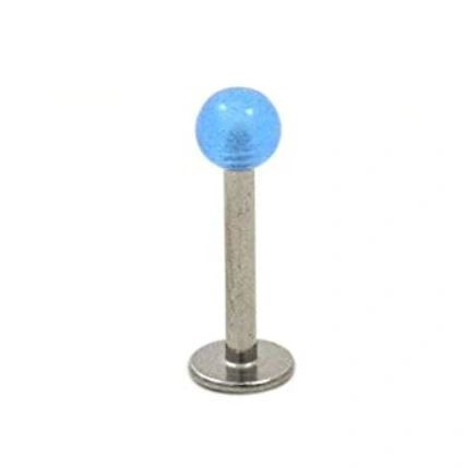 316L Steel Labret with Glow in the Dark-blue