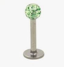 316L Steel Labret with Glitter Ball-green