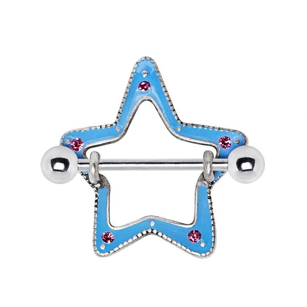 316L Surgical Steel Fun Pink & Blue Star Nipple Shield