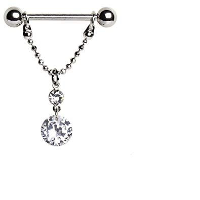 316L Surgical Steel Nipple Ring with Two Round Gems