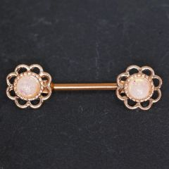 Rose Gold Plated Synthetic Opal Flower Nipple Bar