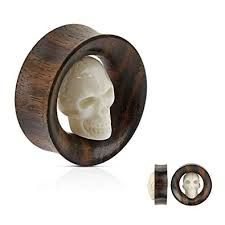 Carved Skull Inside Organic Sono Wood Saddle Fit Tunnel 3/4""