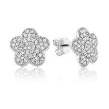 316L Surgical Steel Flower Paved Earring