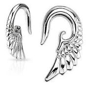 Angelic Wing Hanging 316L Surgical Steel Taper 12g
