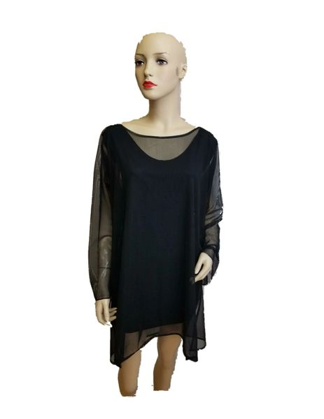 BLack Stretch Mesh Cover up/Top